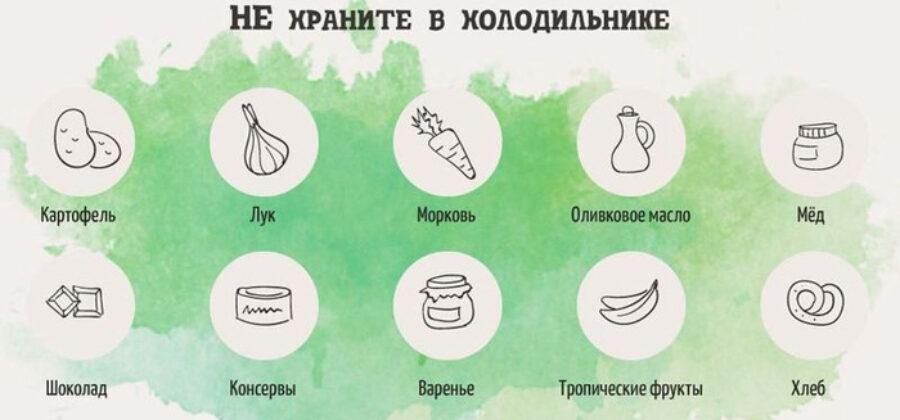 Какие продукты нельзя хранить в холодильнике?